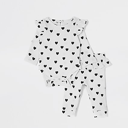 Baby ecru heart rib body and legging outfit