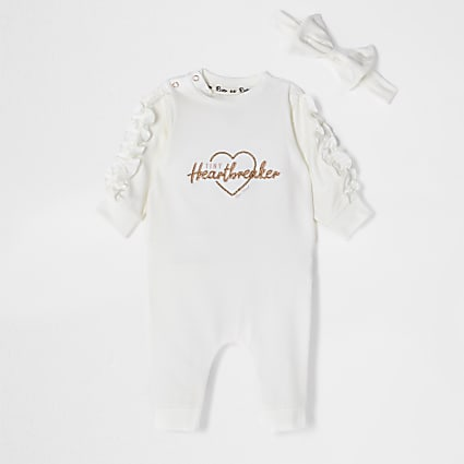 Baby ecru 'Heartbreaker' frill babygrow