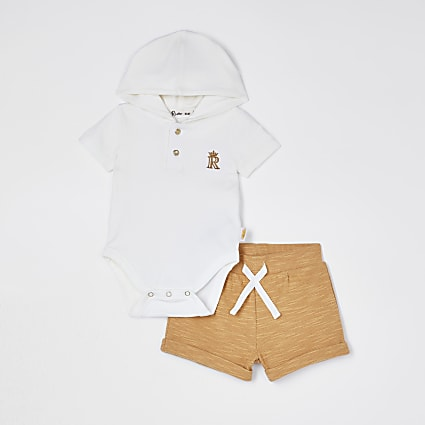 Baby ecru hooded baby grow shorts outfit