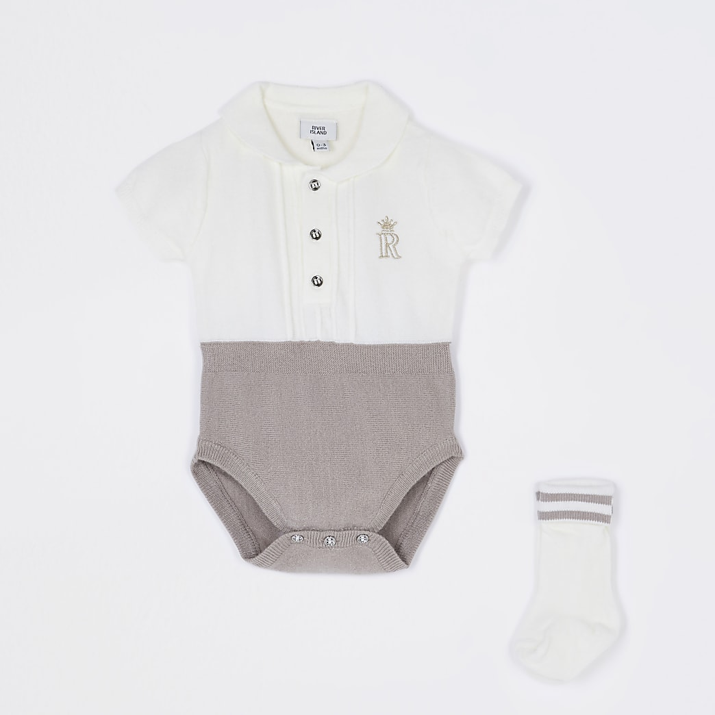Baby ecru knit babygrow and sock set
