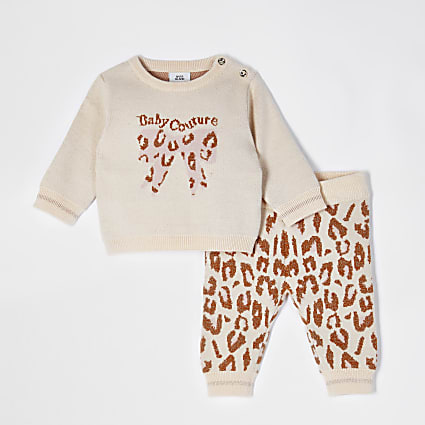 Baby ecru leopard bow print outfit
