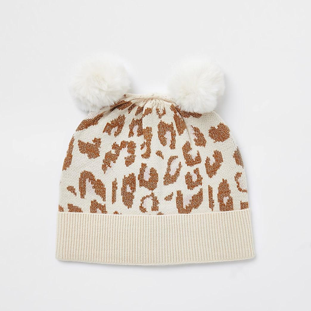 Baby ecru leopard knitted pom beanie hat