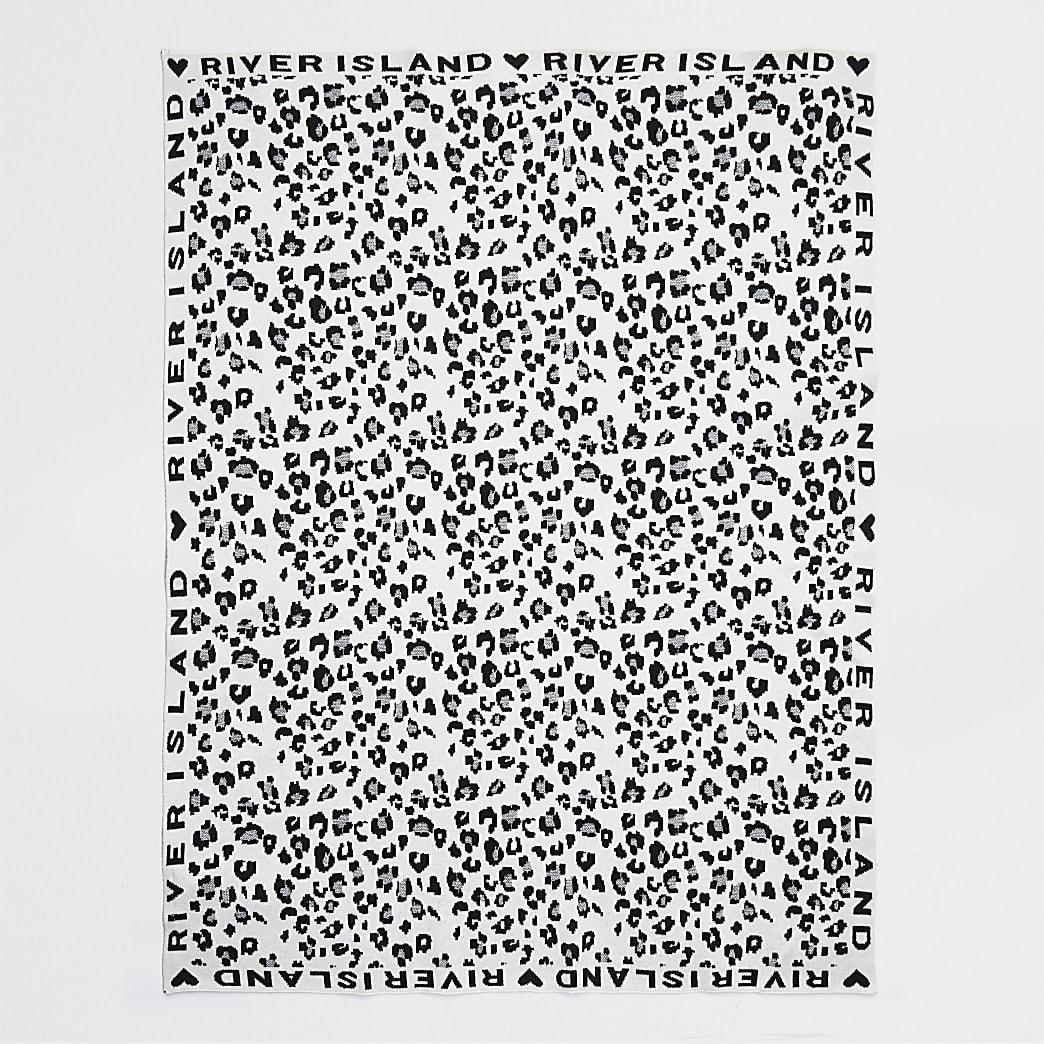 Baby ecru leopard print blanket