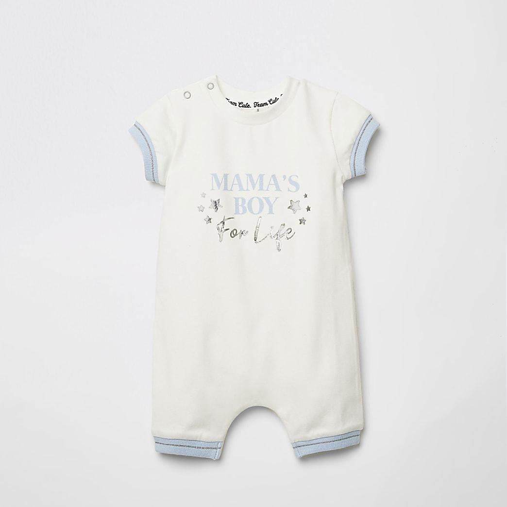 Baby ecru 'Mama's boy' foil print baby grow