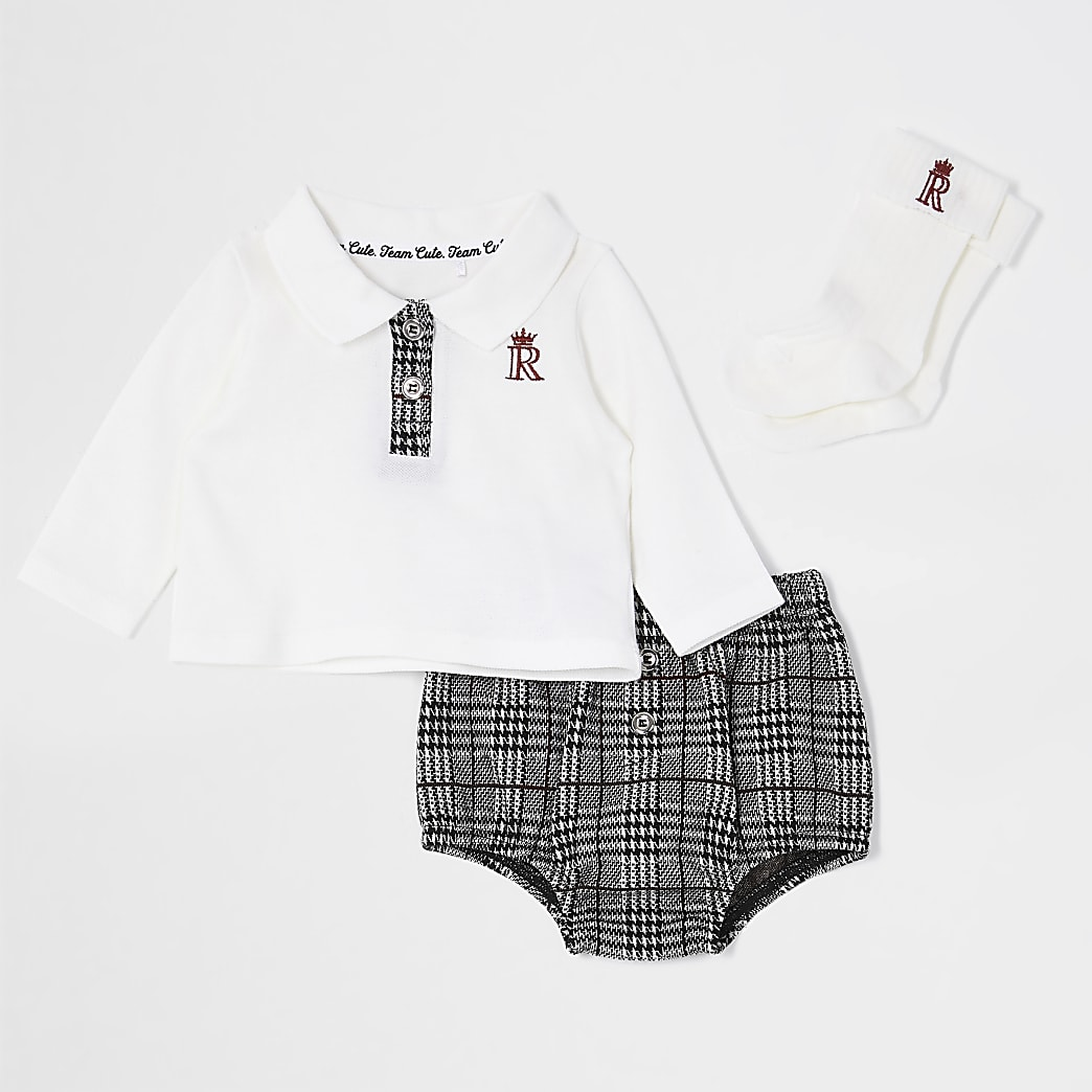 Baby ecru polo check bloomer outfit