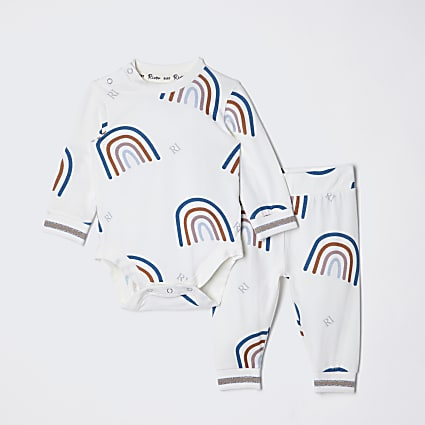 Baby ecru rainbow babygrow and leggings set