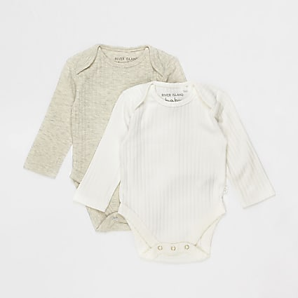 Baby ecru ribbed bodysuits 2 pack