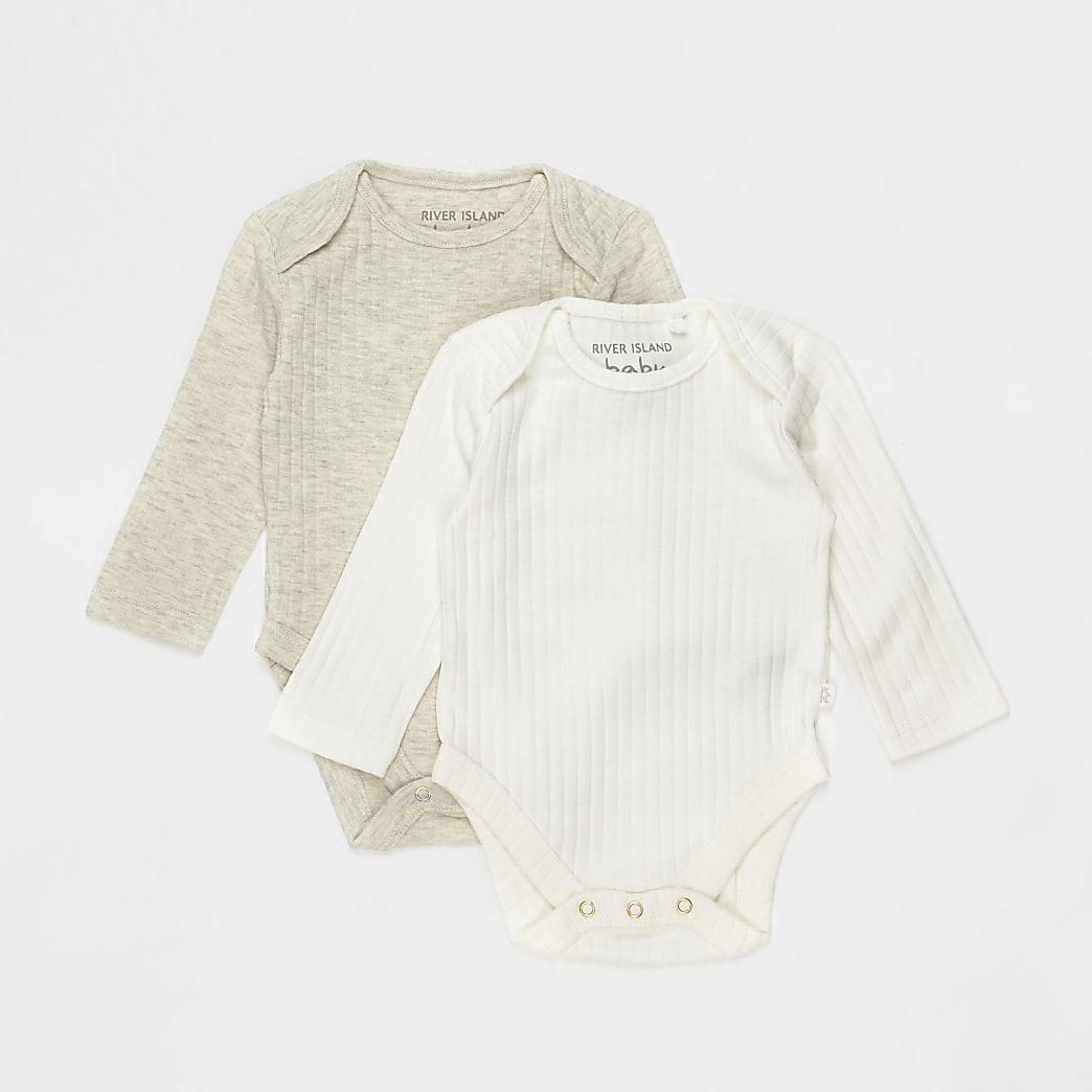 Baby ecru ribbed bodysuits 2 pack