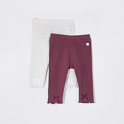 Baby ecru ribbed legging 2 pack leggings