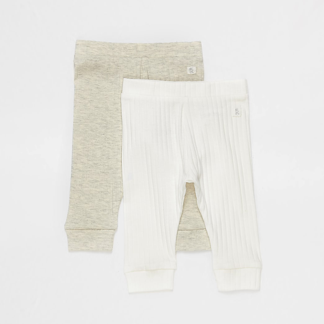 Baby ecru ribbed leggings 2 pack