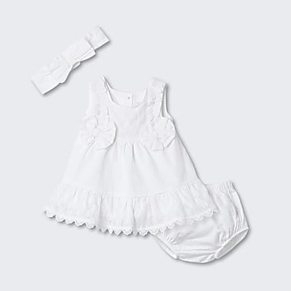 Baby ecru textured smock dress