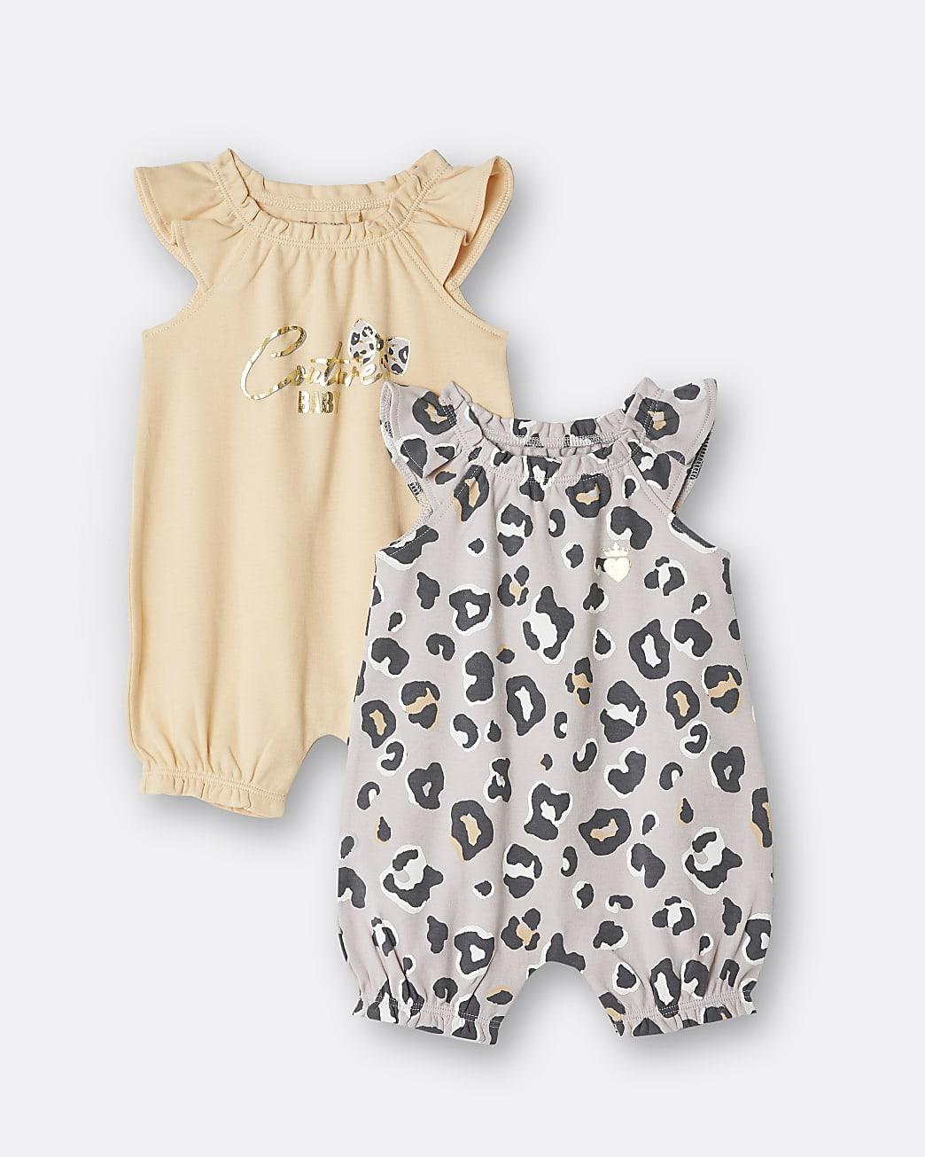 Baby girl brown leopard print romper 2 pack