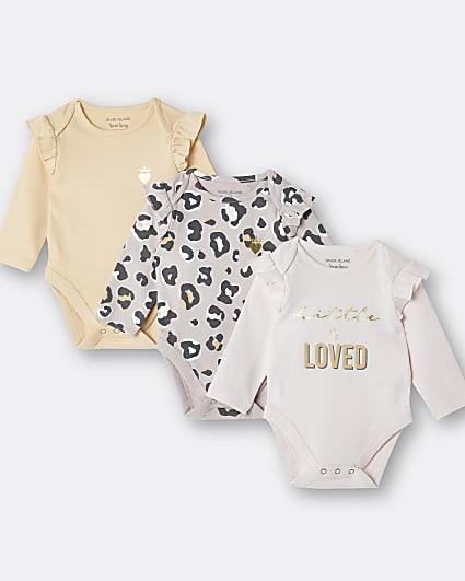 Baby girl pink leopard print babygrow 3 pack