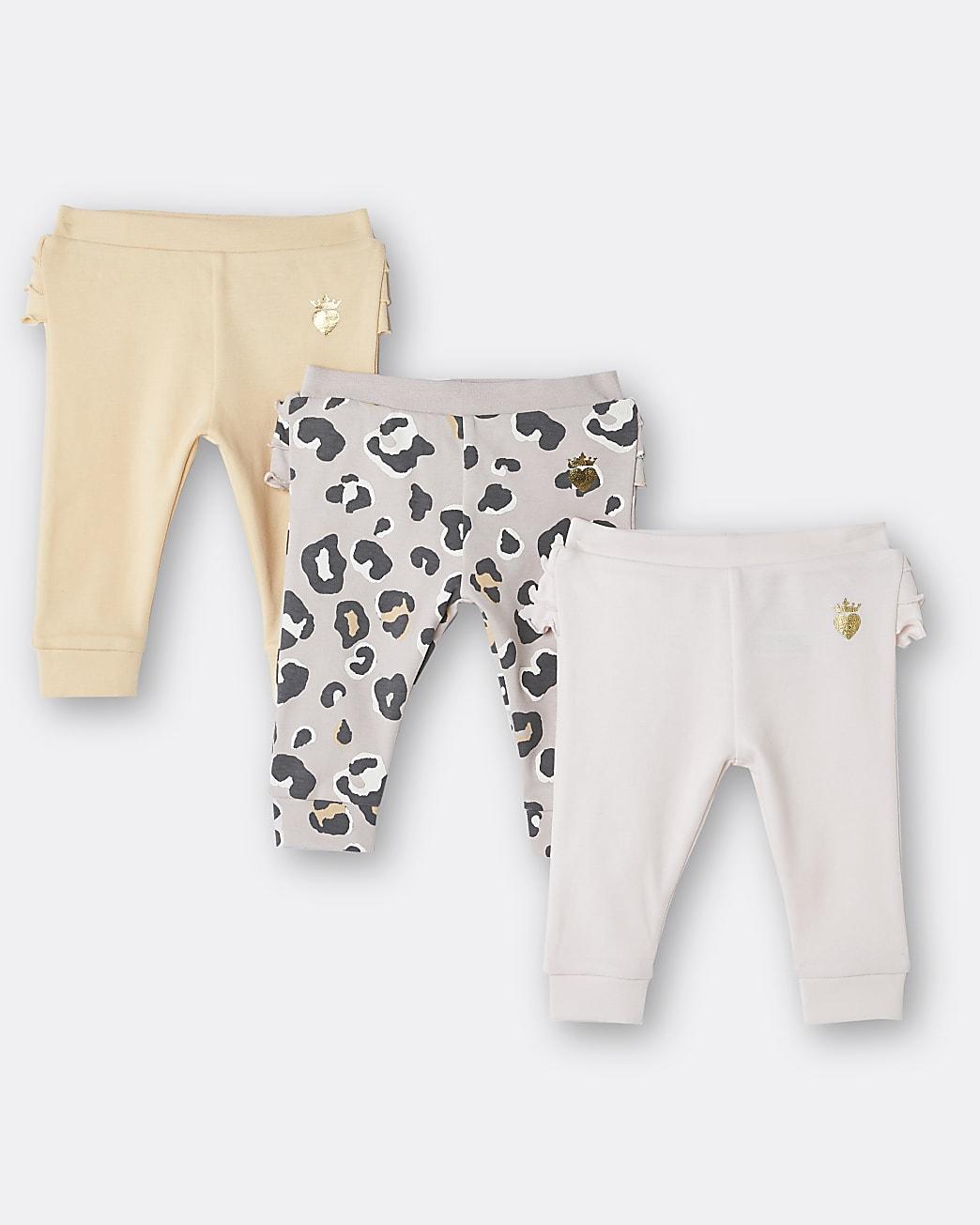 Baby girl pink leopard print leggings 3 pack