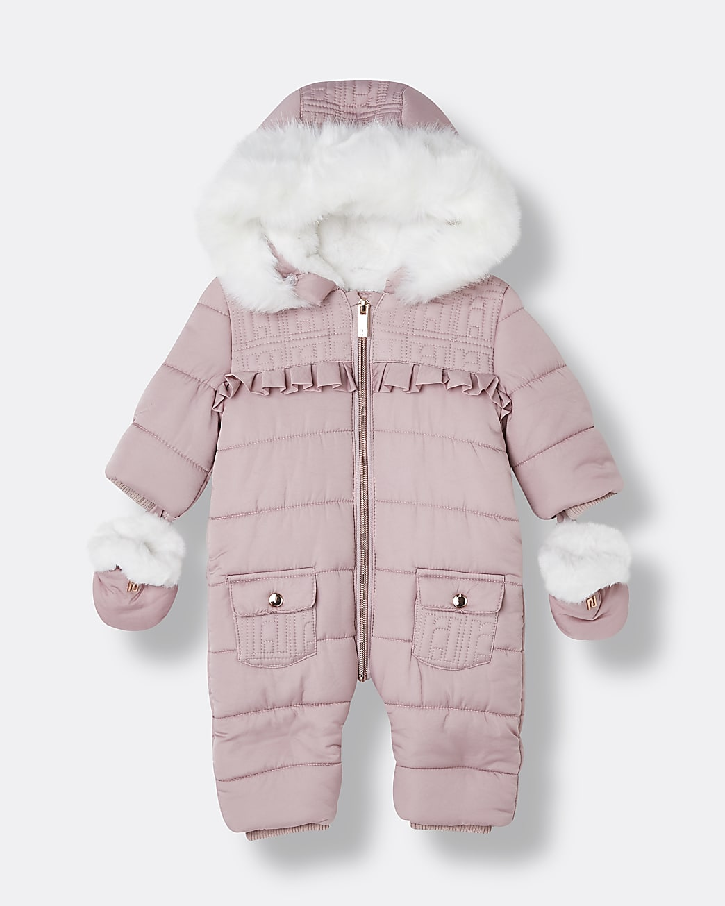 Baby girl pink quilted frill detail snowsuit