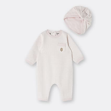 Baby girl pink RI branded romper with hat