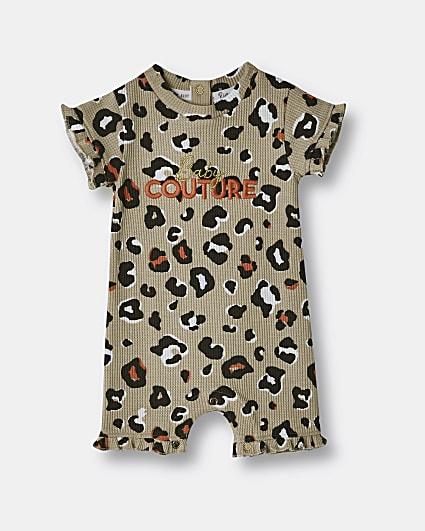 Baby girls beige animal print bodysuit