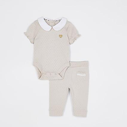 Baby girls beige collar bodysuit set