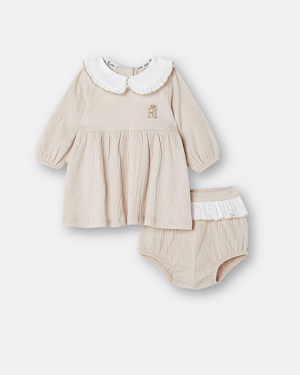 Baby girls beige collar dress and bloomer set