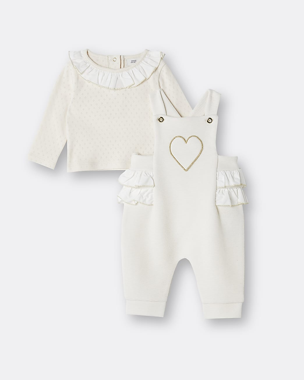 Baby girls beige heart frill dungaree outfit