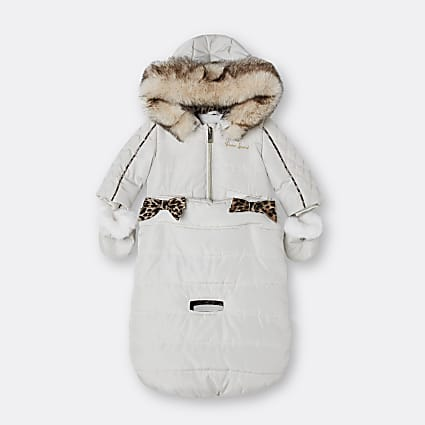 Baby girls beige hooded bow snowsuit bag
