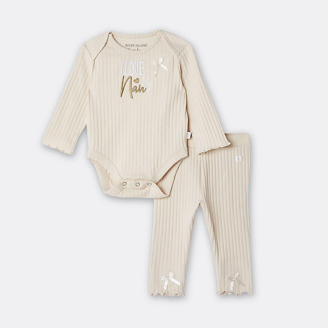 Baby girls beige 'I Love Nan' bodysuit set