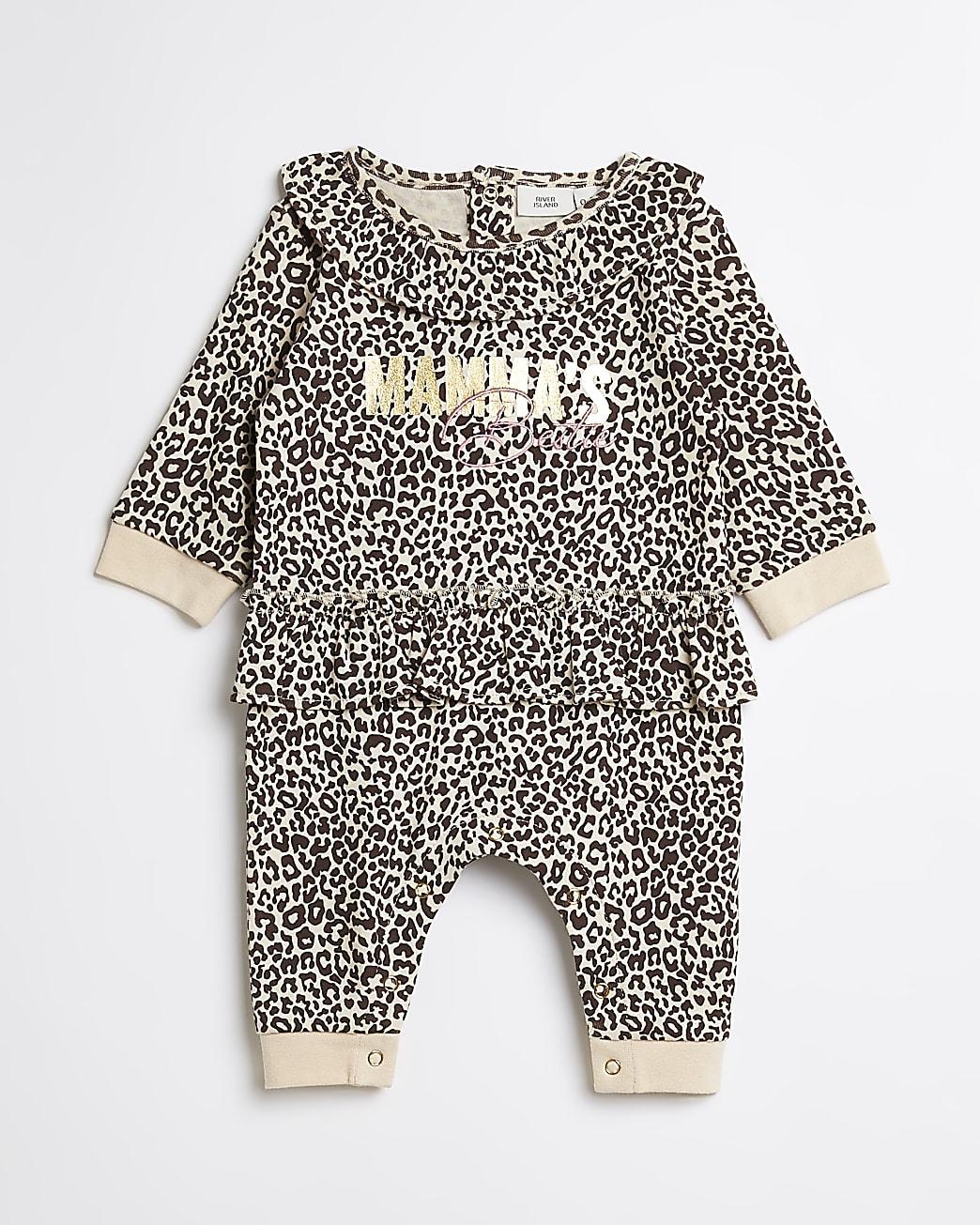 Baby girls beige leopard print bodysuit