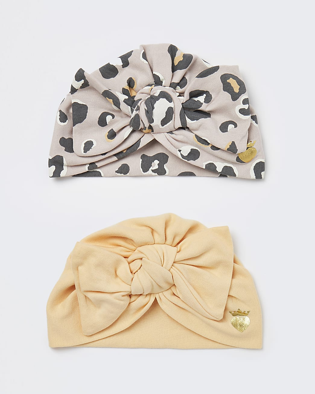 Baby girls beige leopard print turbans 2 pack
