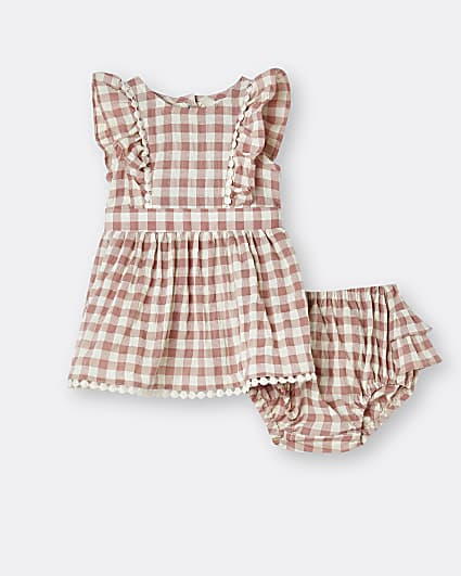 Baby girls coral check dress and bloomer set