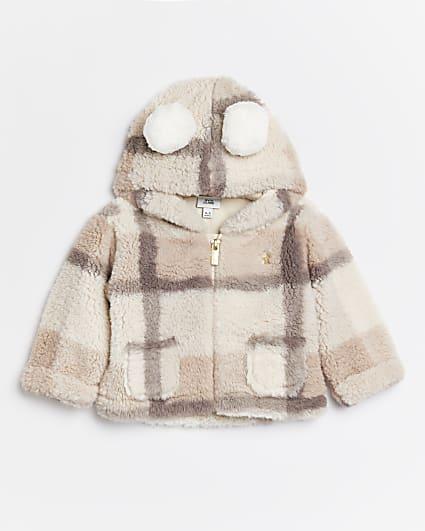 Baby girls cream borg check coat