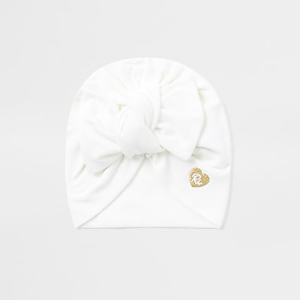 Baby girls cream bow turban hat