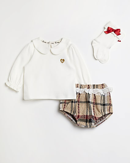 Baby girls cream check frill bloomer outfit