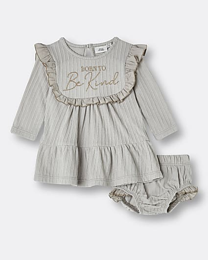 Baby girls cream frill smock dress outfit