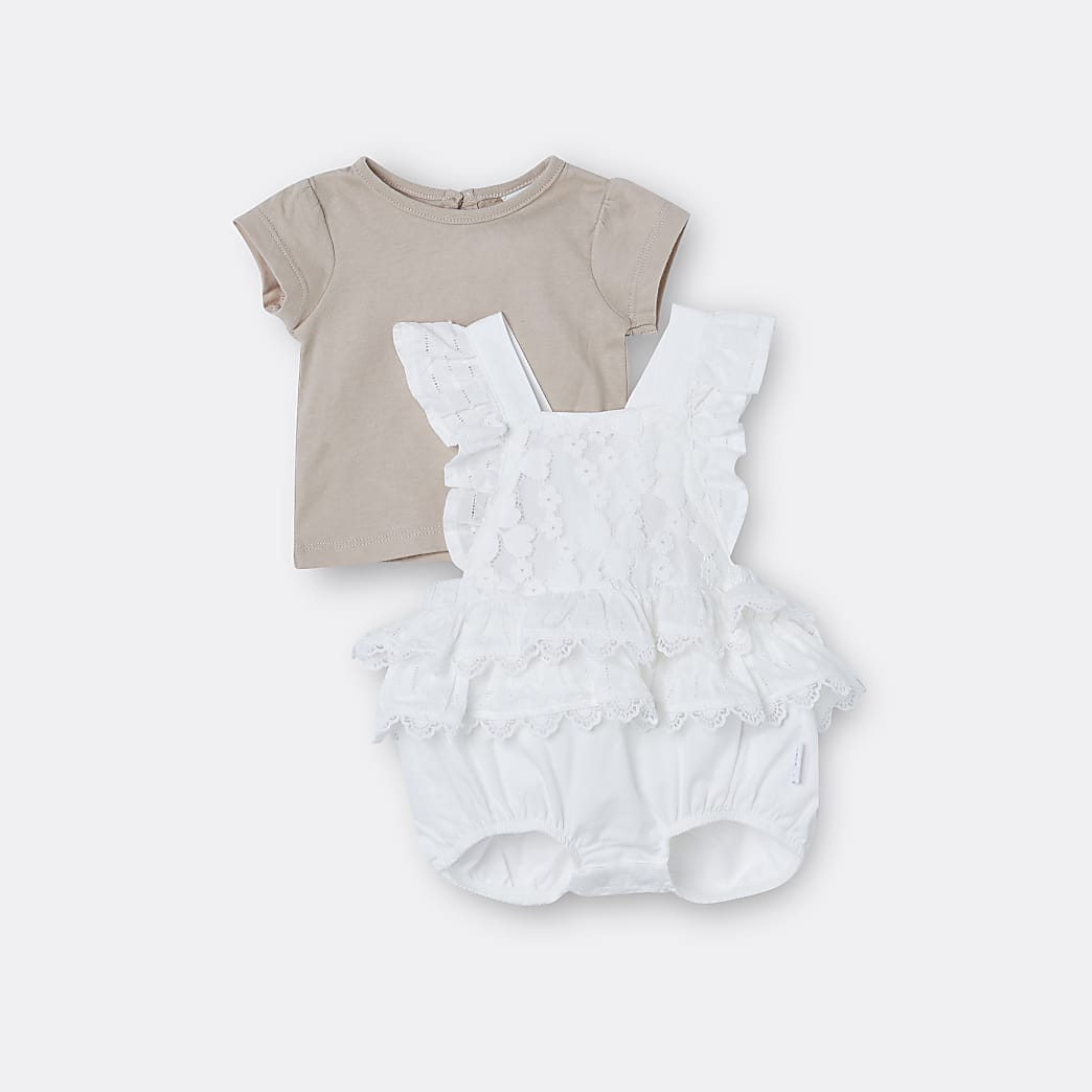 Baby girls cream lace frill romper outfit