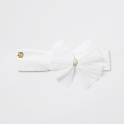 Baby girls cream mesh bow headband