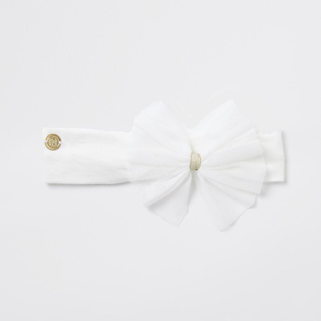 Baby girls cream mesh bow headband