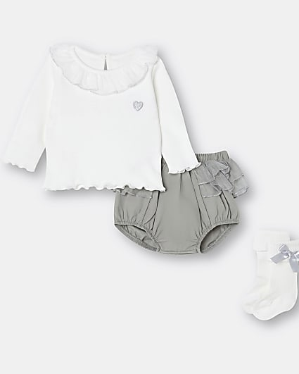 Baby girls cream mesh frill bloomer outfit