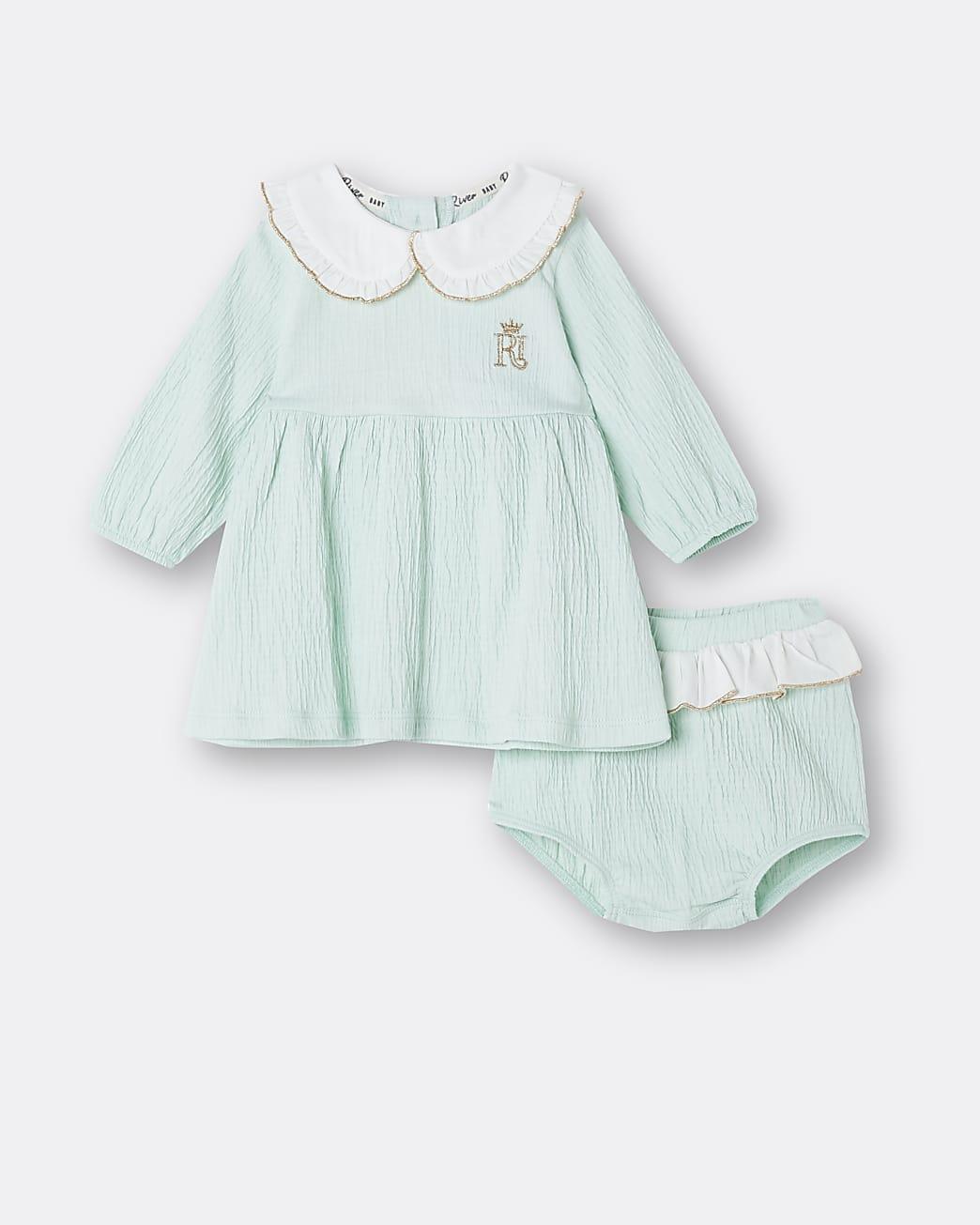 Baby girls green collar dress and bloomer set