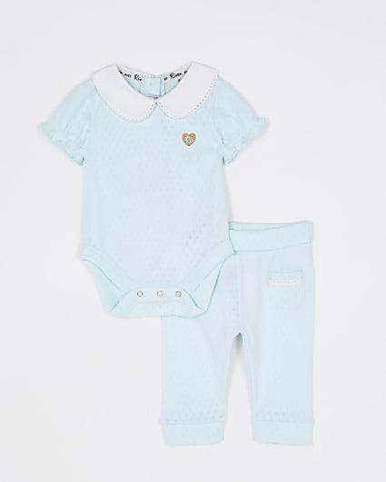 Baby girls green collared bodysuit set
