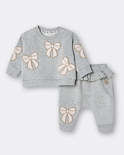 Baby girls grey bow sweatshirt outfit