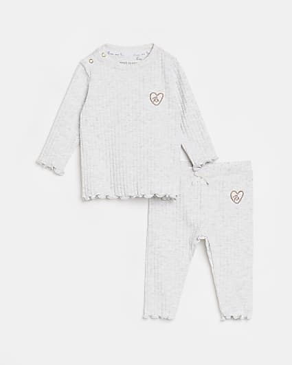 Baby girls grey long sleeve ribbed outfit