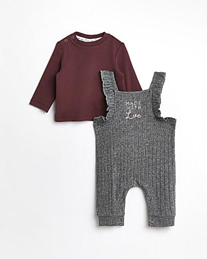 Baby girls grey rib dungaree outfit