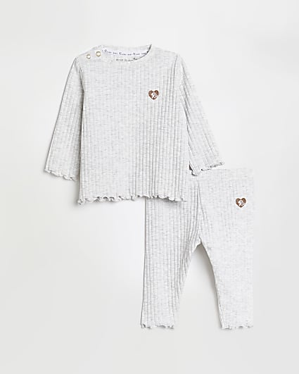 Baby girls grey rib long sleeve top outfit