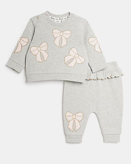 Baby girls grey velour bow sweatshirt outfit