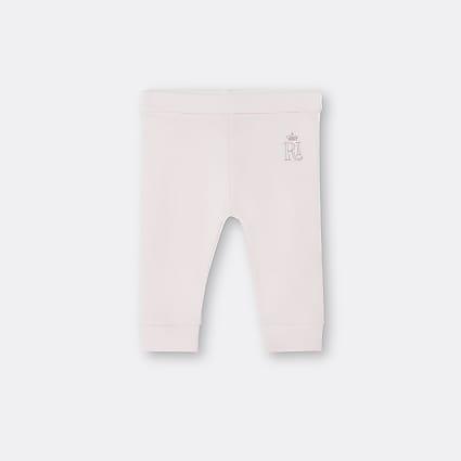 Baby girls light pink RI embroidered leggings