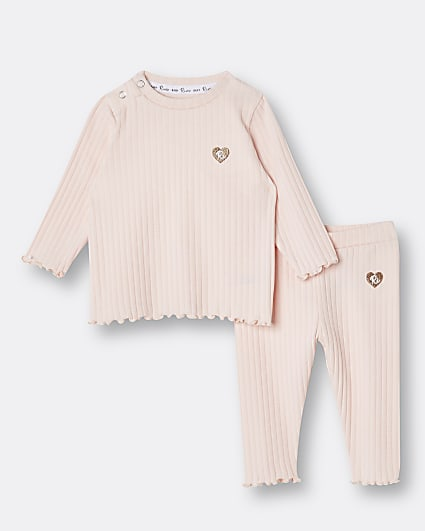 Baby girls light pink rib outfit