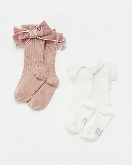 Baby girls pink and white knee socks 2 pack