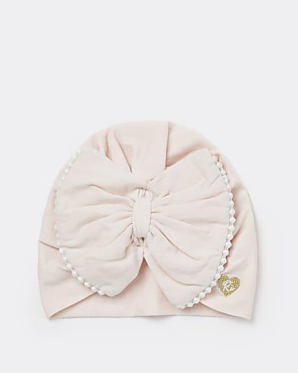 Baby girls pink bow trim turban