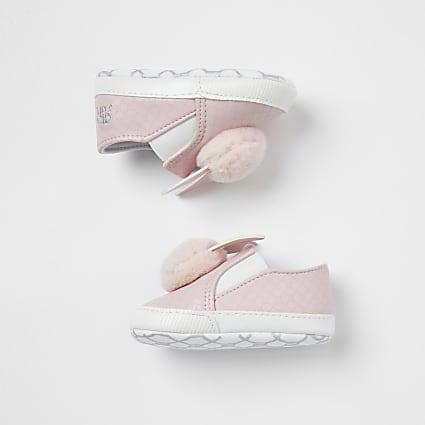 Baby girls pink bunny pom pom plimsoles