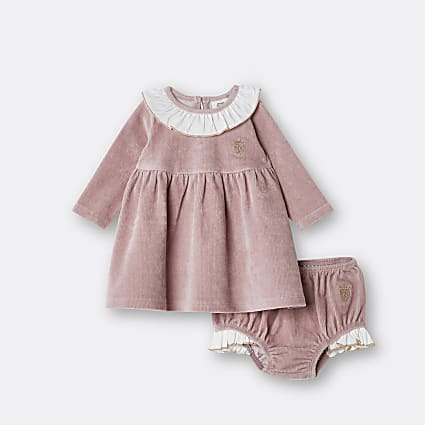 Baby girls pink collar smock dress outfit